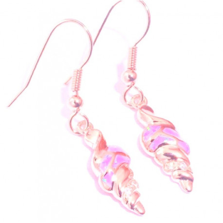 Позолоченные серьги с розовым опалом и цирконами