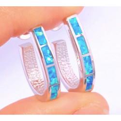Серебряные серьги полукольца с голубыми опалами