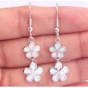 Серьги Тайские цветы из серебра с опалом