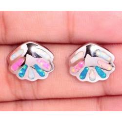Серьги Морские ракушки из серебра с опалом