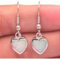 Серьги серебряные Сердечки с опалом 9 мм