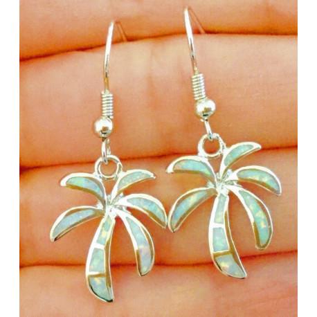 Серебряные серьги Пальмы с белым опалом