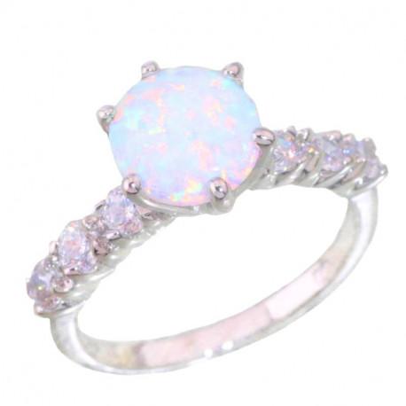 Серебряное кольцо с опалом 9 мм и цирконами