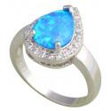 Кольцо с голубым опалом 10 мм, серебро, цирконы