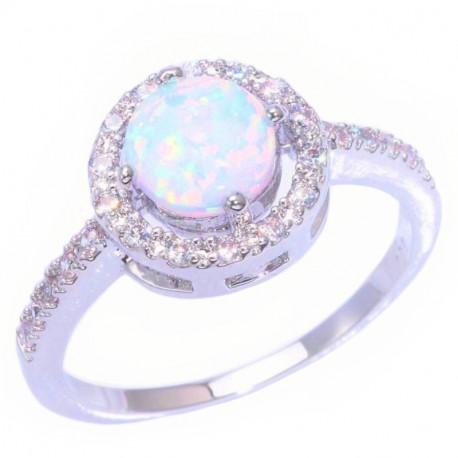 Серебряное кольцо с опалом 7 мм и цирконами