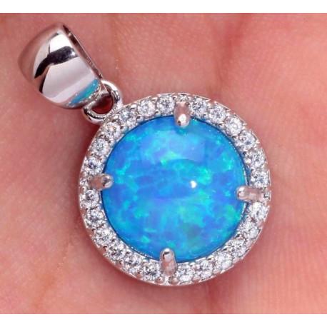 Кулон из серебра с голубым опалом 10 мм и цирконами
