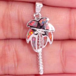 Кулон Пальма из серебра с оранжевым опалом