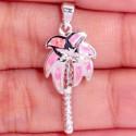 Кулон Пальма из серебра с розовым опалом