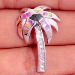 Кулон Пальма из серебра с розовым опалом и цирконами
