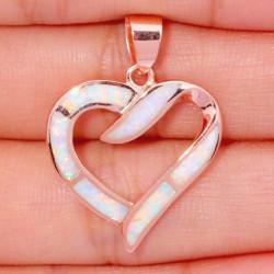 Позолоченный кулон Сердце с белым опалом