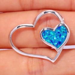 Серебряный кулон Два сердца с голубым опалом