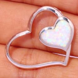 Серебряный кулон Два сердца с белым опалом