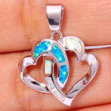 Серебряный кулон Два сердца с белыми и голубыми опалами