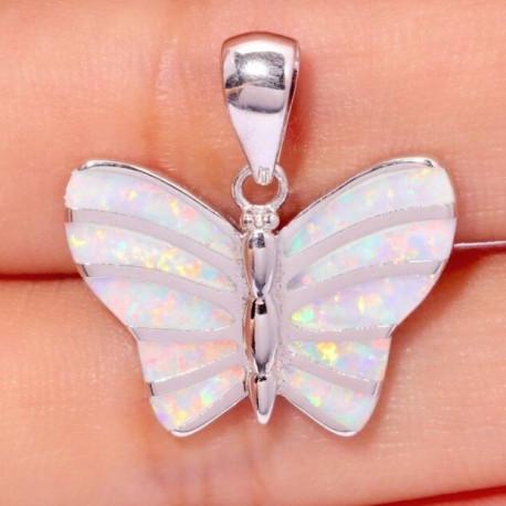 Серебряный кулон Бабочка с белыми опалами