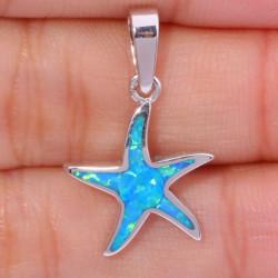 Кулон Морская звезда из серебра с голубым опалом