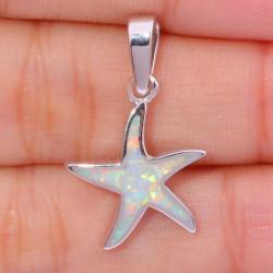 Кулон Морская звезда из серебра с опалом
