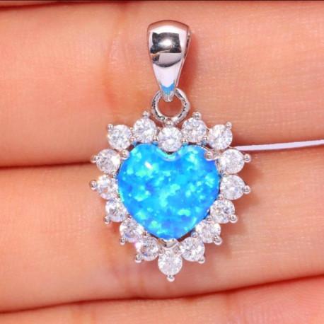 Кулон Сердце океана из серебра и голубых опалов с цирконами