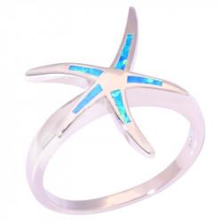 Серебряное кольцо с опалом Морская звезда