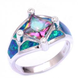 Серебряное кольцо с опалом, топазом и цирконами