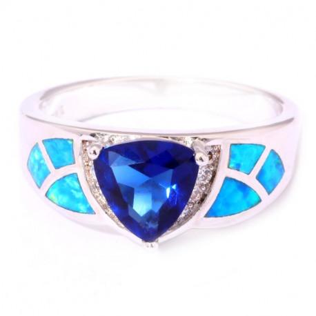 Серебряное кольцо с голубым опалом и сапфиром