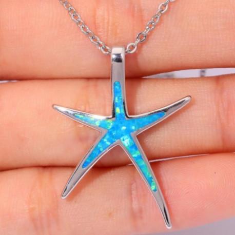 Серебряный кулон Морская звезда с голубыми опалами
