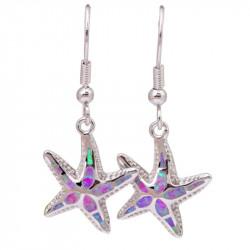 Серьги из серебра с опалом Морские звезды