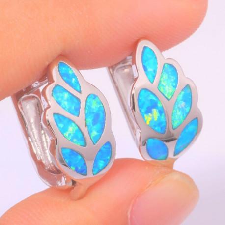Серебряные серьги Листики с голубым опалом