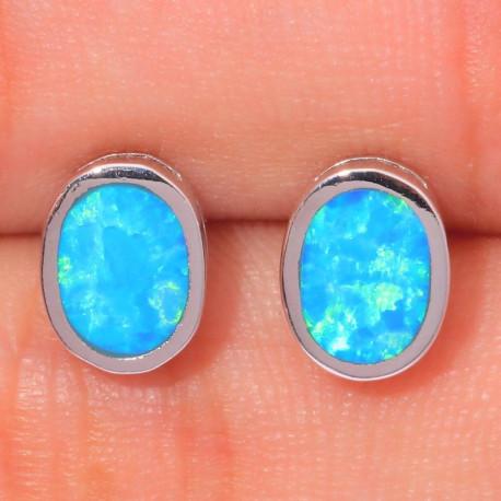 Овальные серьги из серебра с голубым опалом