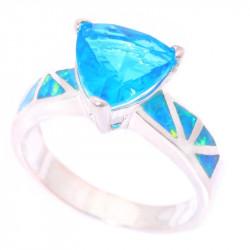 Серебряное кольцо с аквамарином и опалами
