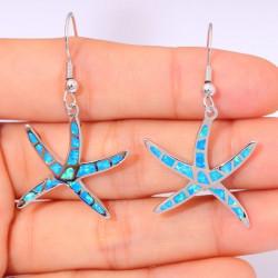 Серебряные серьги Морские звезды с опалами