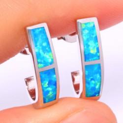 Серьги серебряные с голубыми опалами