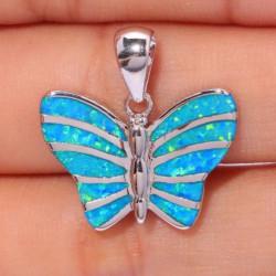 Серебряный кулон Бабочка с голубыми опалами