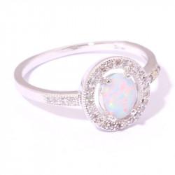 Серебряное кольцо с опалом и цирконами