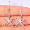 Серебряные серьги с опалом Морские звезды