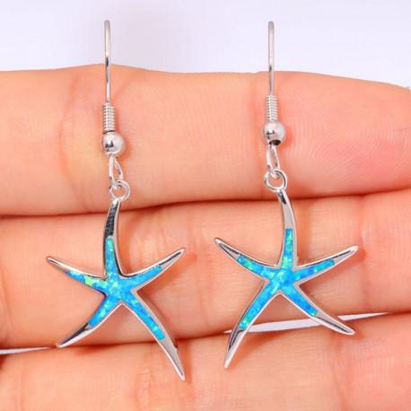 Серьги Морские звезды из серебра с голубым опалом
