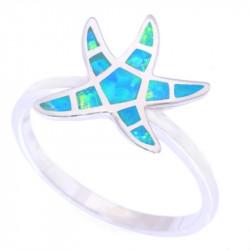 Кольцо опал в серебре Морская звезда