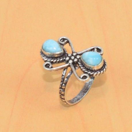 Кольцо с двумя ларимарами