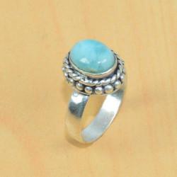 Природный ларимар кольцо