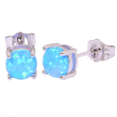Серебряные серьги с голубым опалом 6 мм