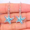 Серебряные серьги Морские звезды с голубым опалом