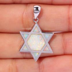 Кулон Звезда Давида серебро с опалом