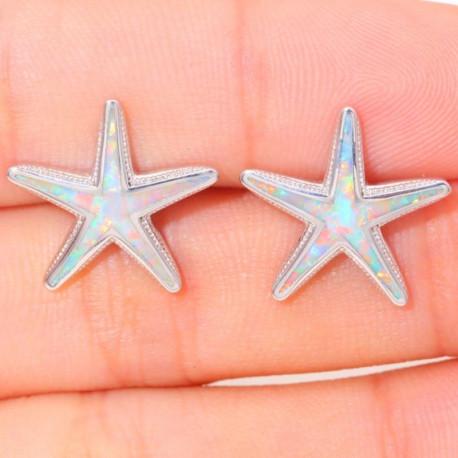 Серьги Морская звезда серебро с опалом