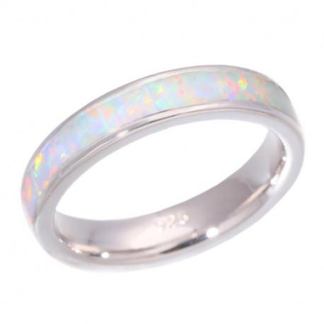 Серебряное кольцо из белых опалов