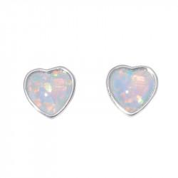 Серебряные серьги с опалом Сердце