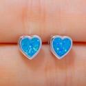 Серебряные серьги Сердце с опалами