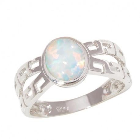 Серебряное кольцо с овальным опалом