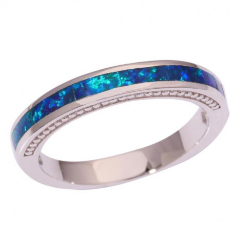 Кольцо из серебра с синим опалом