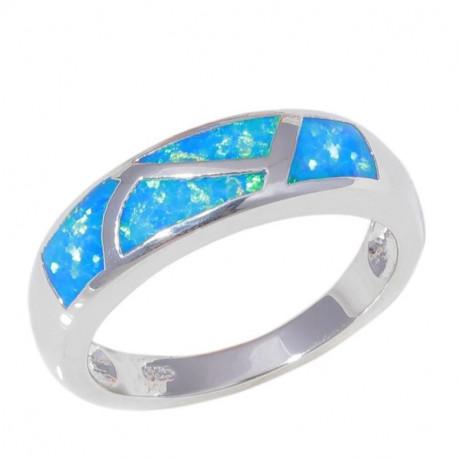 Кольцо с голубыми опалами в серебре