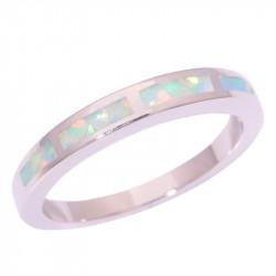Кольцо с белыми опалами в серебре