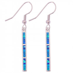 Длинные серьги из серебра с синим опалом